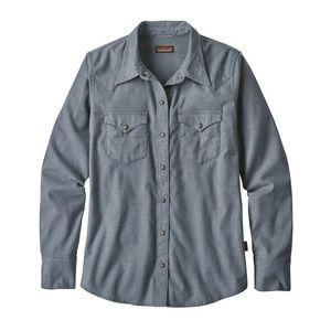 Patagonia men's western style shirt, chambray